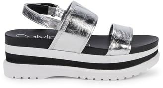 Calvin Klein Nola Platform Leather Slingback Sandals