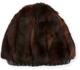 inverni Fashion Accessories Fur & Cashmere Beanie Hat, Brown