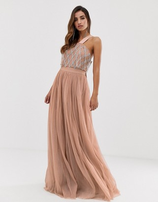 Asos DESIGN embellished top halter tulle maxi dress