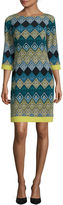 Jessica Howard 3/4-Sleeve Diamond Print Shift Dress