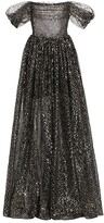 Thumbnail for your product : Rasario Off-the-Shoulder Draped Sequined Tulle Gown