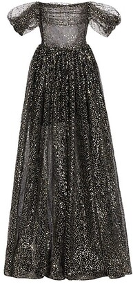 Rasario Off-the-Shoulder Draped Sequined Tulle Gown