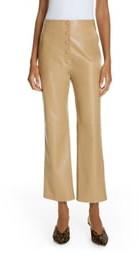 Nanushka Sora Faux Leather Crop Flare Pants