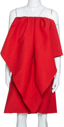 Valentino Red Wool Cady Off Shoulder Very Dress M