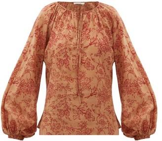 Mes Demoiselles Josette Floral-print Cotton Blouse - Womens - Brown Print