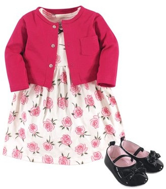 Little Treasures Little Treasure Baby Girl Cardigan, Dress & Shoes, 3pc Outfit Set