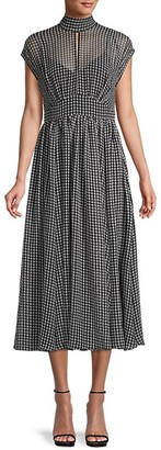 Kate Spade Houndstooth-Print Midi Dress