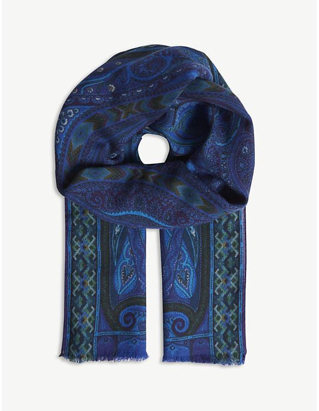 Etro Paisley geometric print wool-silk scarf
