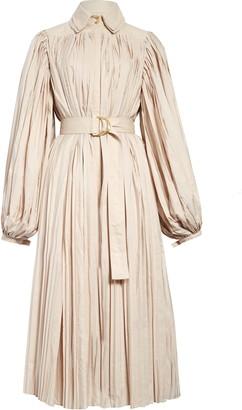 Aje Prima Pleated Long Sleeve Midi Dress