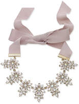 INC International Concepts Gold-Tone Crystal & White Stone Flower Gray Ribbon Tie Statement Necklace, Created for Macy's