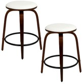 "Lumisource Porto 24"" Swivel Counter Stool Wood/Cherry/White (Set of 2)"