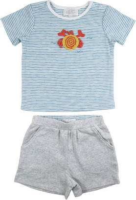 Striped Crochet Crab Short-Sleeve Top w/ Shorts, Size 6-24 Months