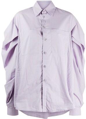 Natasha Zinko Pleated Check Print Shirt