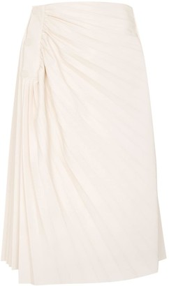 Low Classic pleated faux leather midi skirt