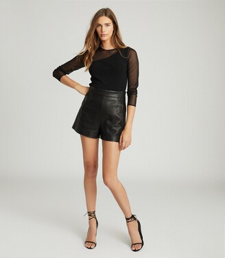 Reiss Alicia - Semi-sheer Slim-fit Top in Black