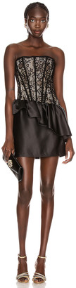 Rasario Corset Ruffle Mini Dress in Black | FWRD