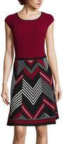 Robbie Bee Cap-Sleeve Chevron-Skirt Fit-and-Flare Dress