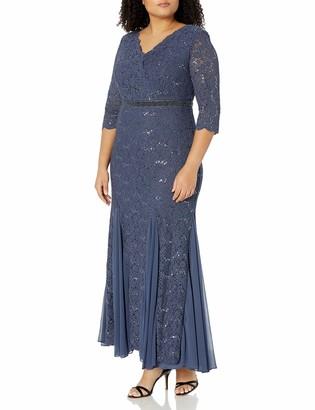 Alex Evenings Women's Plus-Size Fit and Flare Long Lace Dress