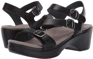Dansko Sacha (Black Burnished Calf) Women's Dress Sandals