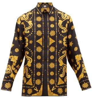 Versace Medusa-print Silk-twill Shirt - Mens - Black Multi