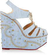 Charlotte Olympia Gene embellished denim wedge sandals