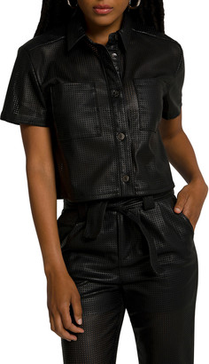Good American Perforated Cropped Shirt