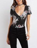 Charlotte Russe Floral V-Neck Bodysuit