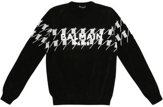 Balmain Kids Printed cotton-blend sweater