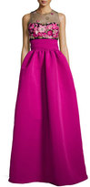 Marchesa Sleeveless Embroidered Ball Gown, Fuchsia