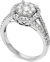 Macy's Diamond Double Halo Cluster Engagement Ring (7/8 ct. t.w.) in 14k White Gold