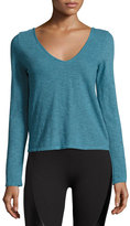 Lanston Cross-Back Melange Active Top, Turquoise