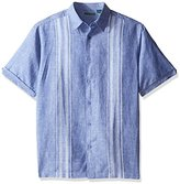 Cubavera Men's Short Sleeve Engineered Dobby Striped Panel Woven Shirt