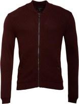 Ted Baker Mens Duk Knitted Long Sleeve Bomber Jacket Dark Red