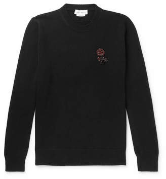Alexander McQueen Slim-Fit Suede Elbow-Patch Embellished Wool And Cashmere-Blend Sweater