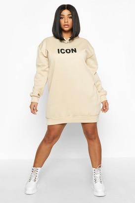 boohoo Plus 'Icon' Oversized Hooded Sweat Dress