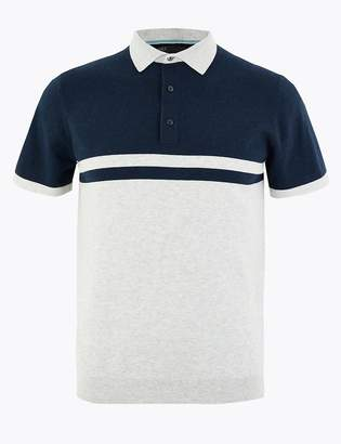 Marks and Spencer Cotton Striped Knitted Polo Shirt