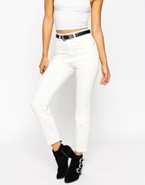 Asos Farleigh Slim Mom Jeans In Chalk White Wash