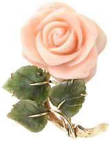 One Kings Lane Vintage Coral Rose & Jade Leaves Gold Brooch