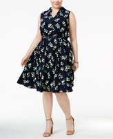 Charter Club Plus Size Lemon-Printed Fit and Flare Shirtdress, Created for Macy's
