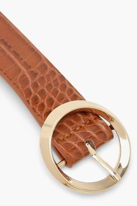 boohoo Croc Circle Buckle Belt