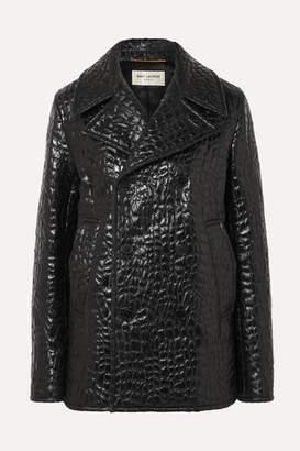 Saint Laurent Double-breasted Croc-effect Faux Leather Jacket - Black