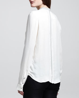 Helmut Lang Two-Tone Patch-Pocket Top
