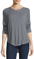 AG Jeans Anne Crewneck Long-Sleeve Striped Raglan Top