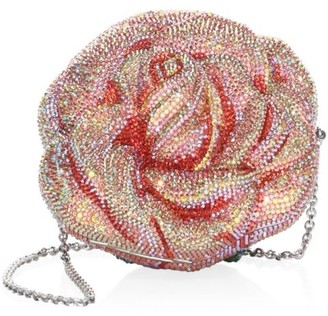 Judith Leiber Couture Apricot Rose Crystal Clutch