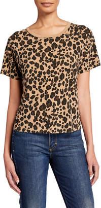 Amo Denim Leopard Short-Sleeve Cotton Tee