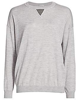 Brunello Cucinelli Women's Monili Triangle Wool & Cashmere Knit Crewneck Sweater