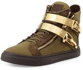 Giuseppe Zanotti Men's Military Canvas High-Top Sneaker, Olive