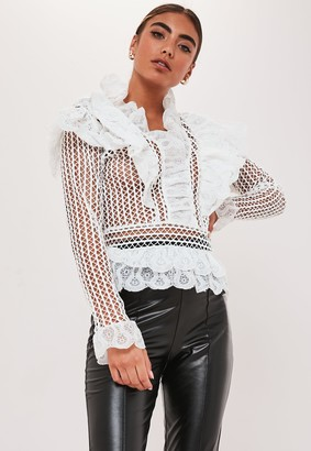 Missguided White Lace Ruffle Long Sleeve Top