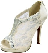 De Blossom Collection Yael-9 Women's Lace and Rhinestone Formal Dress Bootie Heeled Dress Sandal 8.5