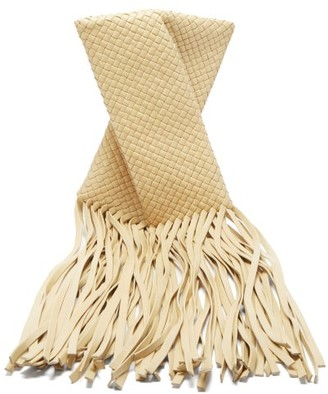 Bottega Veneta The Fringe Crisscross Intrecciato Clutch Bag - Cream